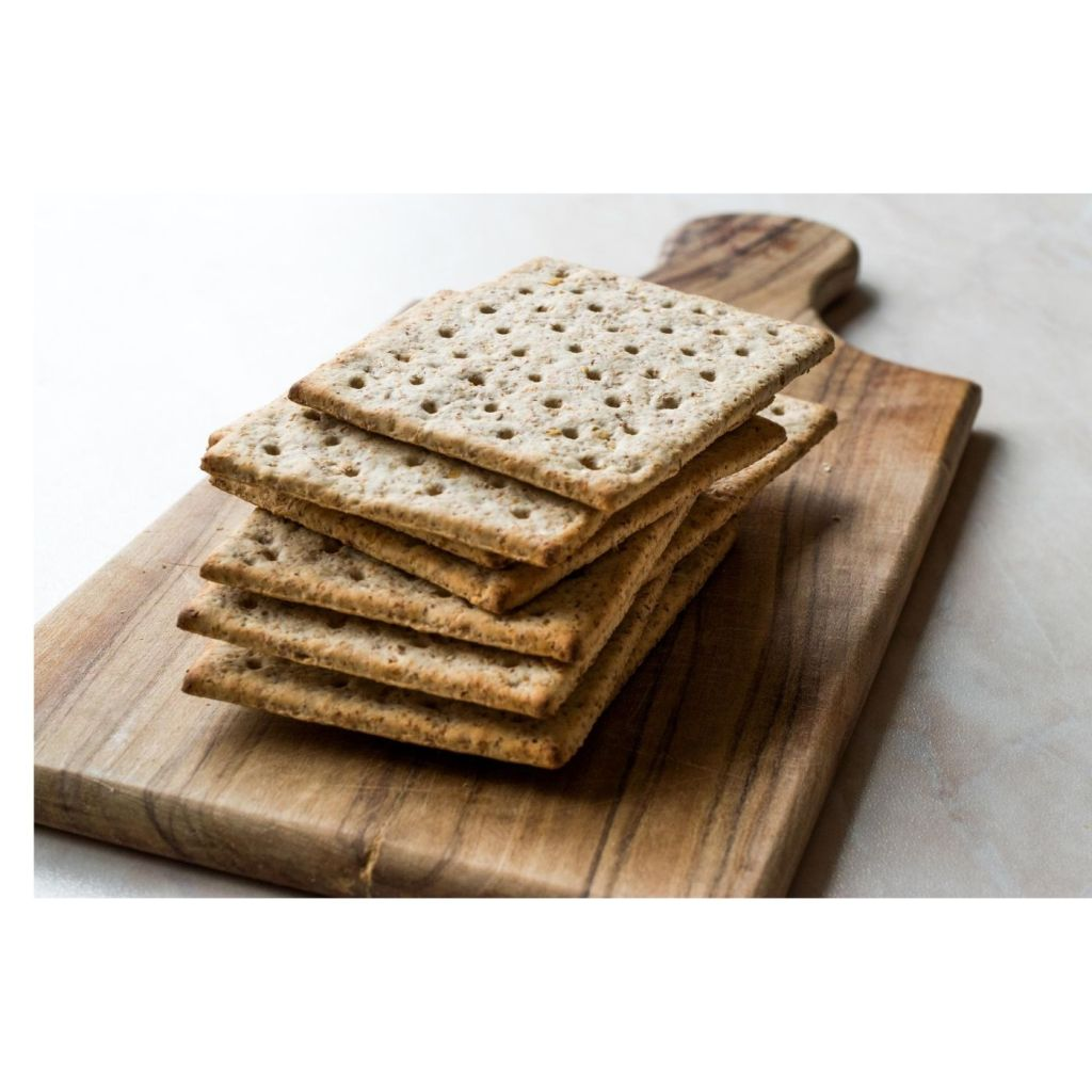 vegan crackers for chickpea scramble